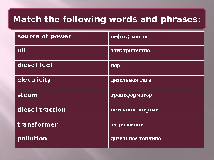 Match the following words and phrases: source of power нефть ;  масло oil электричество diesel