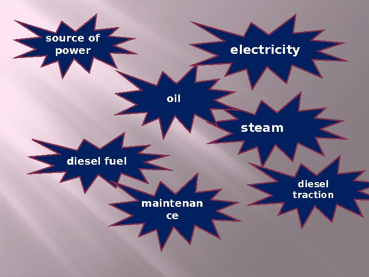 source of power electricity steamoil diesel fuel diesel  traction maintenan ce