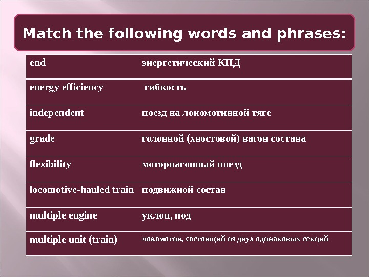 Match the following words and phrases: end энергетический КПД energy efficiency  гибкость independent поезд на