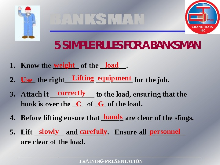 5 SIMPLE RULES FOR A BANKSMAN 1. Know the _______ of the _______. 2. ____ the
