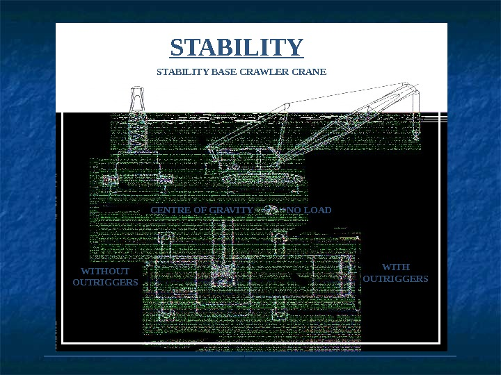 STABILITY BASE CRAWLER CRANE CENTRE OF GRAVITY   NO LOAD WITHOUT OUTRIGGERS WITH OUTRIGGERS ___________________
