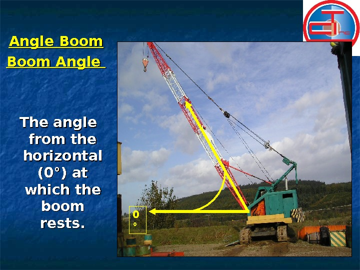 Angle Boom Angle  The angle from the horizontal (0°) at which the boom rests. 0