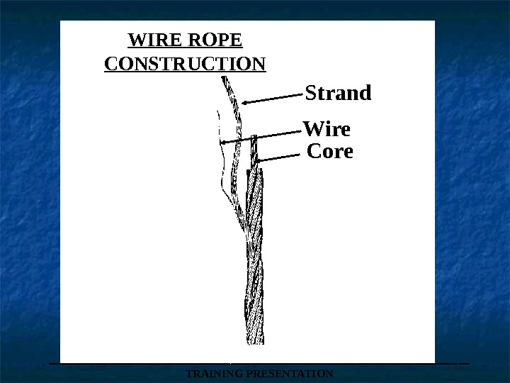 WIRE ROPE CONSTRUCTION Strand Wire Core ___________________ TRAINING PRESENTATION
