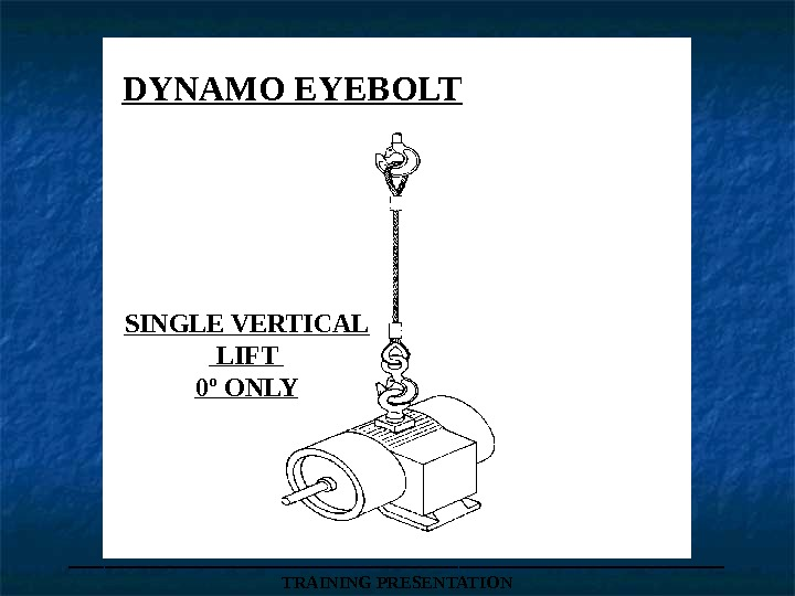SINGLE VERTICAL  LIFT 0 º ONLY ___________________ TRAINING PRESENTATIONDYNAMO EYEBOLT