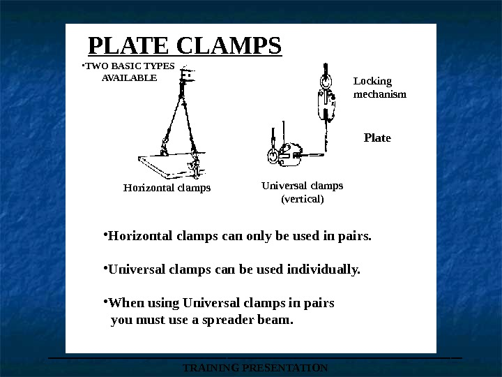 PLATE CLAMPS • TWO BASIC TYPES  AVAILABLE • Horizontal clamps can only be used in