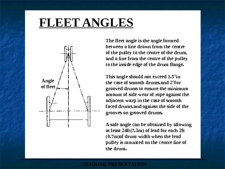 ___________________ TRAINING PRESENTATIONAngle of fleet The fleet angle is the angle formed between a line drawn