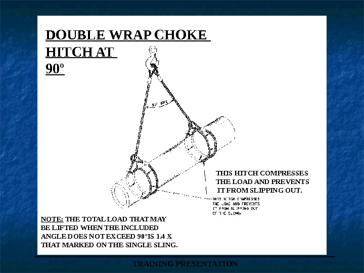 ___________________ TRAINING PRESENTATIONDOUBLE WRAP CHOKE HITCH AT 90º THIS HITCH COMPRESSES THE LOAD AND PREVENTS