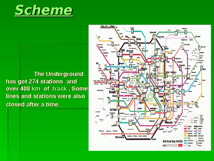 SS cheme     The Underground hashas  got 274 stations  and over