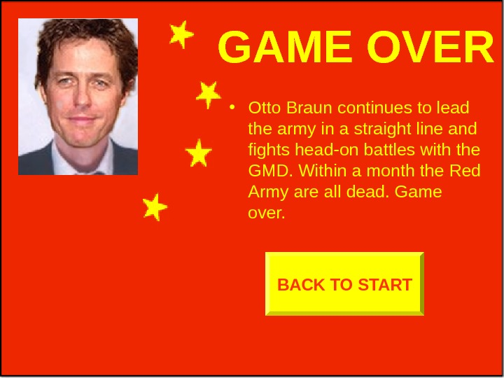 GAME OVER • Otto Braun continues to lead the army in a straight line
