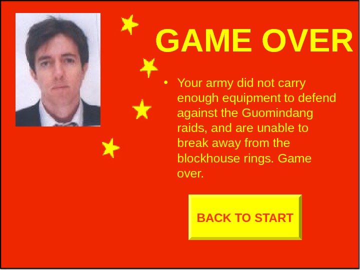 GAME OVER • Your army did not carry enough equipment to defend against the