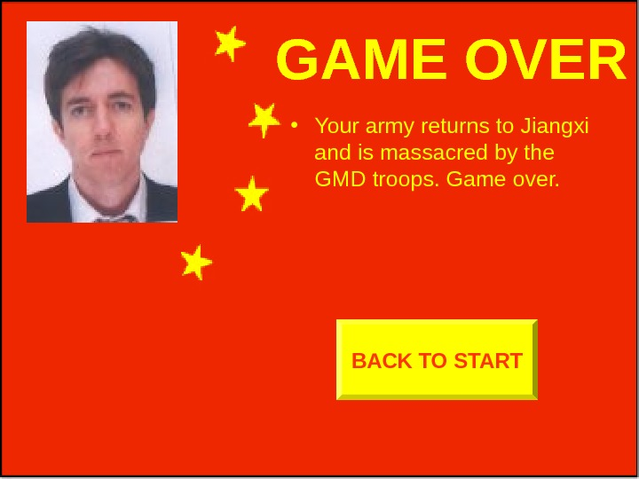 GAME OVER • Your army returns to Jiangxi and is massacred by the GMD
