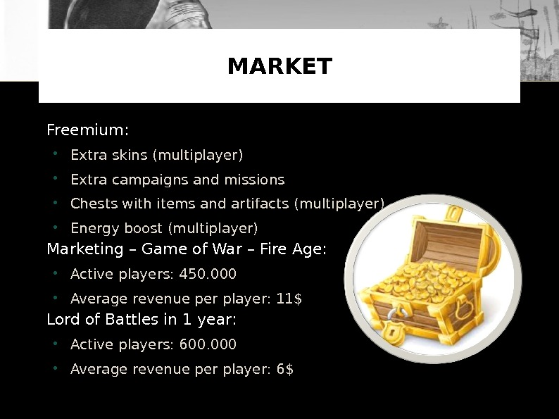 Freemium:  Extra skins ( multiplayer ) Extra campaigns and missions  Chests with items and