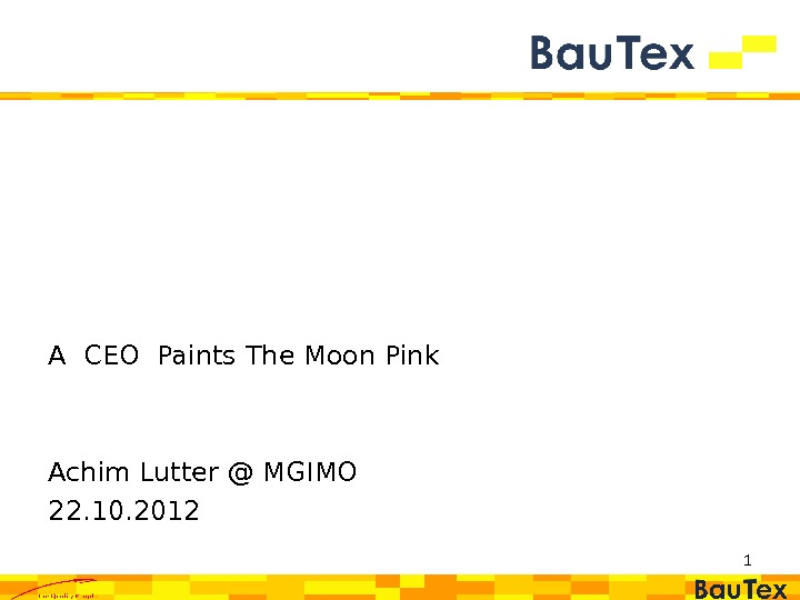 1 A CEO Paints The Moon Pink Achim Lutter @ MGIMO 22. 10. 2012