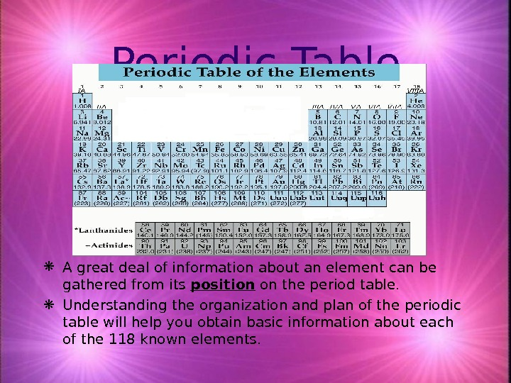 Periodic Table A great deal of information about an element can be gathered from its position
