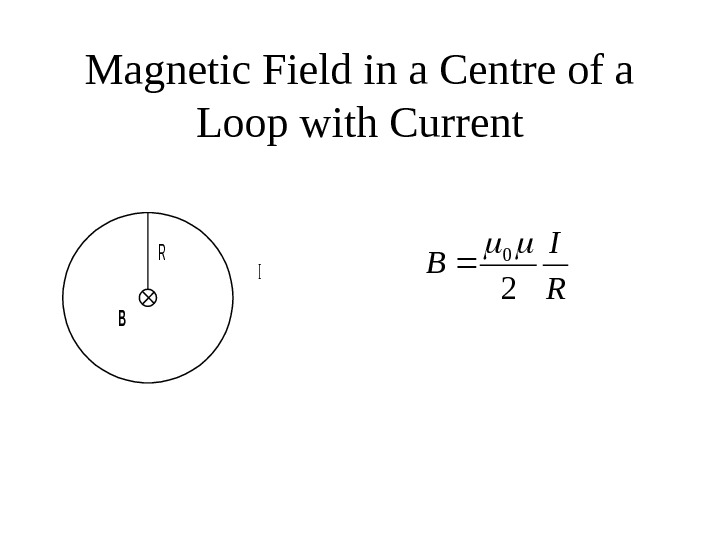 Magnetic Field in a Centre of a Loop with Current. B R I B