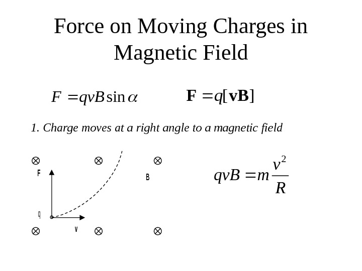 Force on Moving Charges in Magnetic Fieldsinqv. BF][v. BFq 1. Charge moves at a