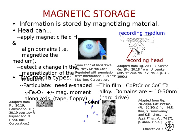 Chapter 20 - 9 •  Information is stored by magnetizing material. recording headrecording medium