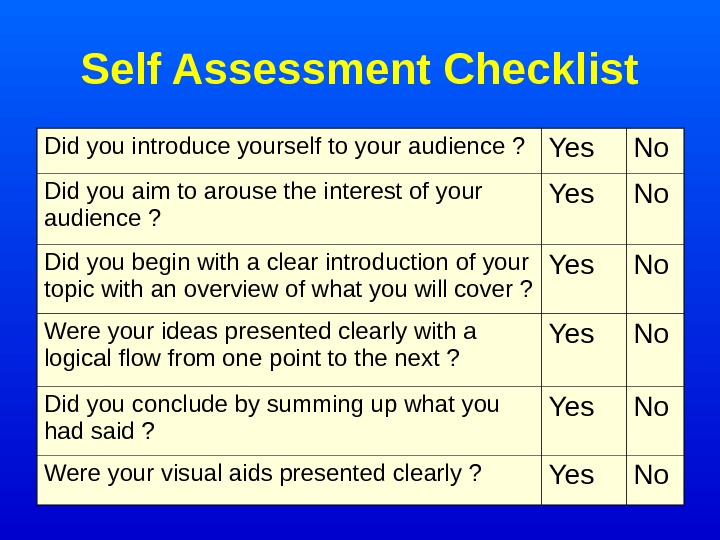 Self Assessment Checklist Did you introduce yourself to your audience ? Yes No Did
