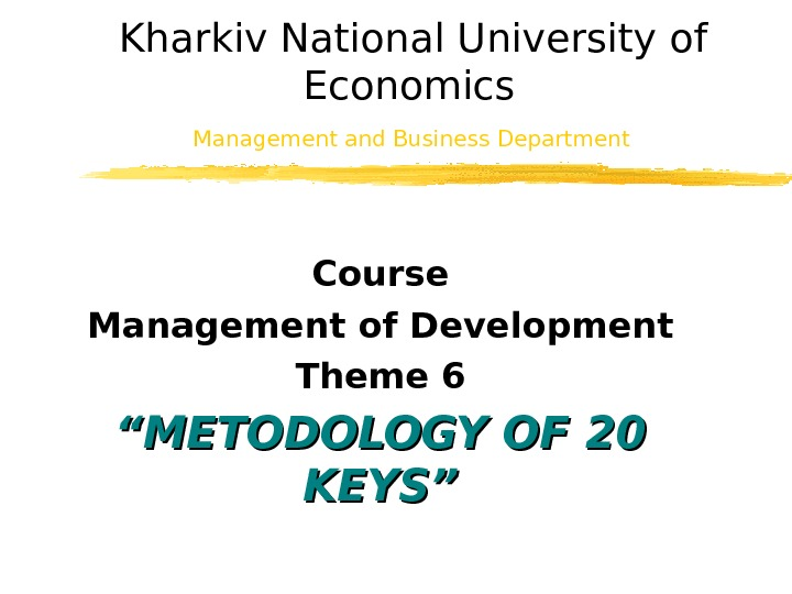 Kharkiv National University of Economics Management and Business  Department  Course Management of Development Theme
