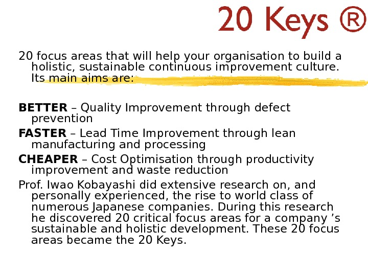 20 focus areas that will help your organisation to build a holistic, sustainable continuous improvement culture.