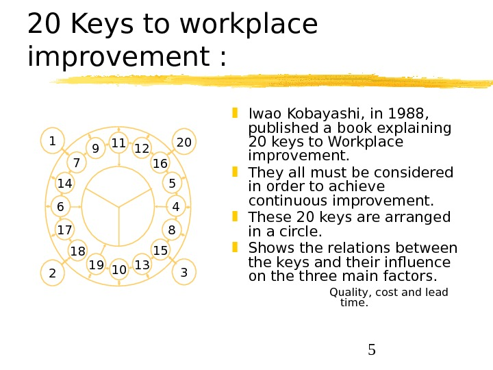 520 Keys to workplace improvement :  Iwao Kobayashi, in 1988,  published a book explaining