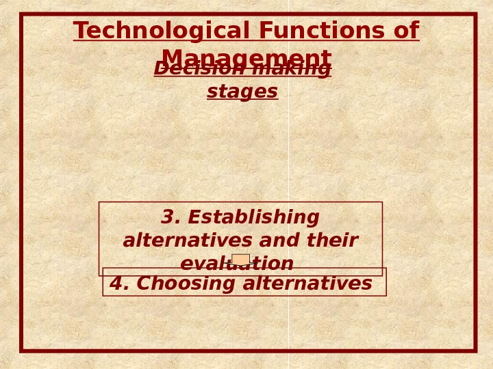 Technological Functions of Management Decision making stages 3.  Establishing alternatives and their evaluation  4.