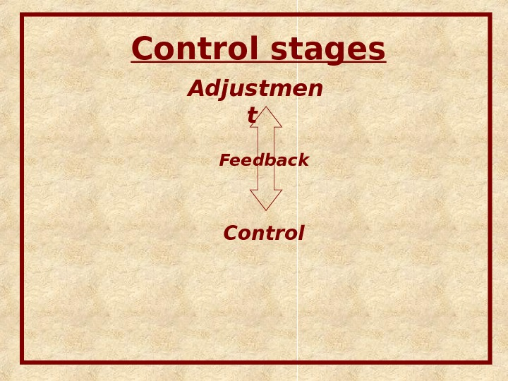Control stages Adjustmen t  Control. Feedback