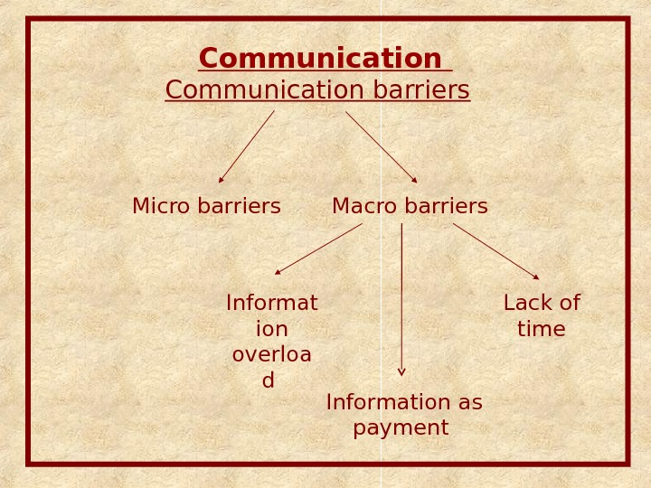 Communication barriers Micro barriers Macro barriers Informat ion overloa d Lack of time Information as payment