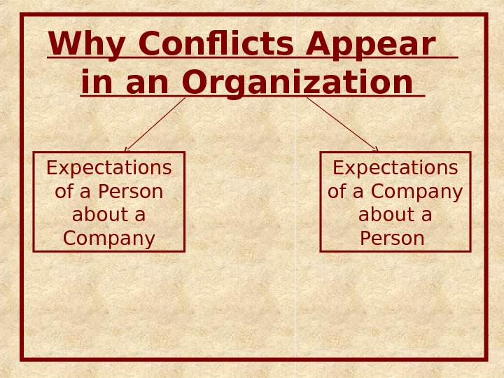 Why Conflicts Appear  in an Organi zation Expectations of a Company about a Person Expectations