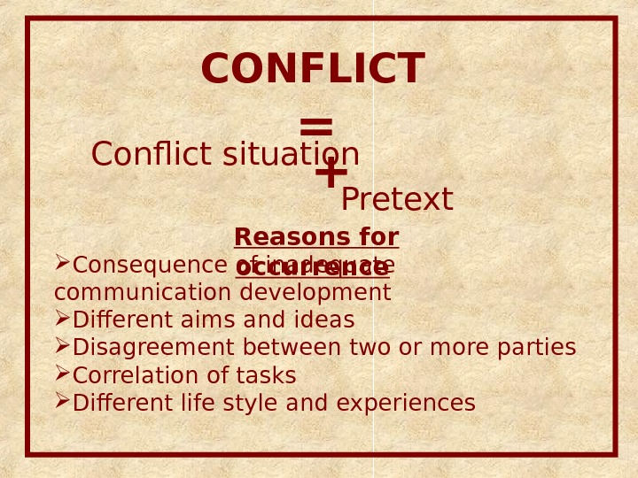 CONFLICT Conflict situation Pretext + =  Reasons for occurrence  Consequence of inadequate communication development