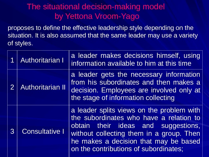 The situational decision-making model by Yettona Vroom-Yago 1 Authoritarian I a leader makes decisions himself,