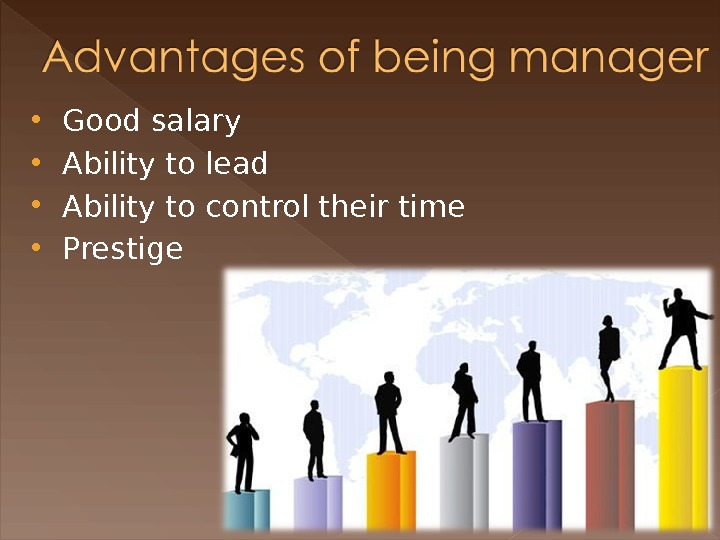 Good salary Ability to lead  Ability to control their time  Prestige