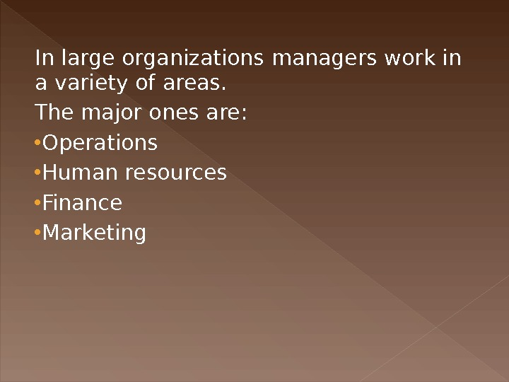 In large organizations managers work in a variety of areas.  The major ones are: