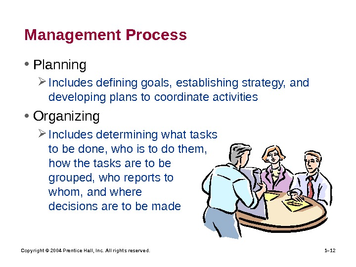 Copyright © 2004 Prentice Hall, Inc. All rights reserved. 1– 12 Management Process • Planning Includes
