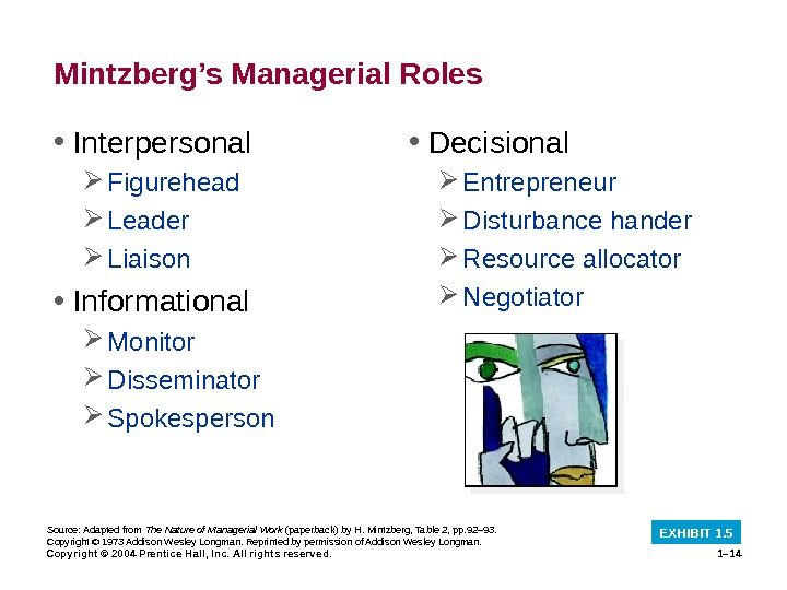 Copyright © 2004 Prentice Hall, Inc. All rights reserved. 1– 14 Mintzberg's Managerial Roles • Interpersonal