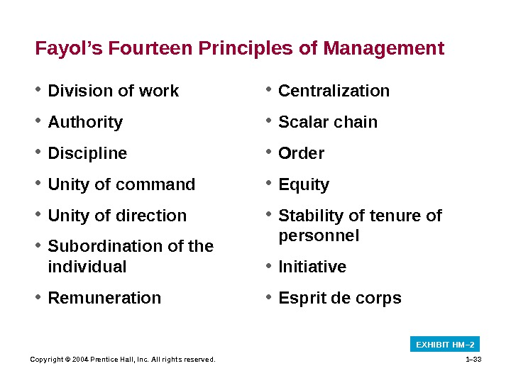 Copyright © 2004 Prentice Hall, Inc. All rights reserved. 1– 33 Fayol's Fourteen Principles of Management