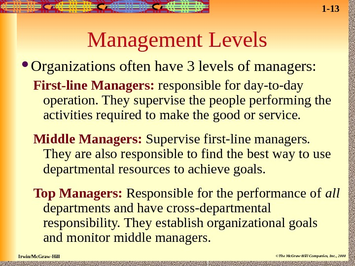 Irwin/Mc. Graw-Hill ©The Mc. Graw-Hill Companies, Inc. , 2000 Management Levels Organizations often have 3 levels