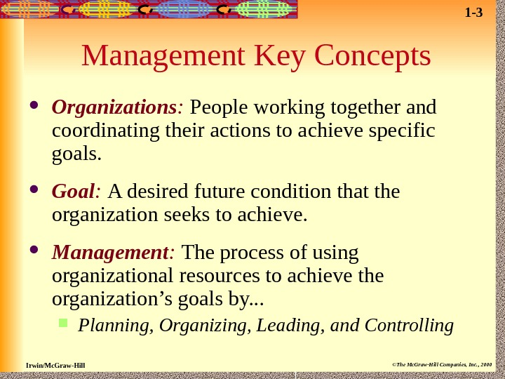 Irwin/Mc. Graw-Hill ©The Mc. Graw-Hill Companies, Inc. , 2000 Management Key Concepts Organizations :  People