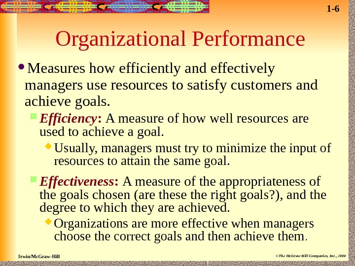 Irwin/Mc. Graw-Hill ©The Mc. Graw-Hill Companies, Inc. , 2000 Organizational Performance Measures how efficiently and effectively