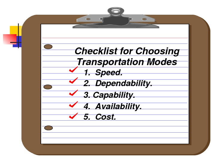 1. Speed. 2. Dependability. 3. Capability. 4. Availability. 5. Cost. Checklistfor. Choosing Transportation. Modes