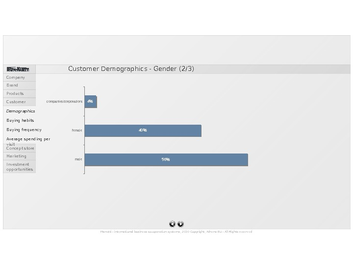56404 malefemalecompanies/corporations Customer Demographics - Gender (2/3) Manetti - international business co-operation systems, 2010 Copyright, Athens