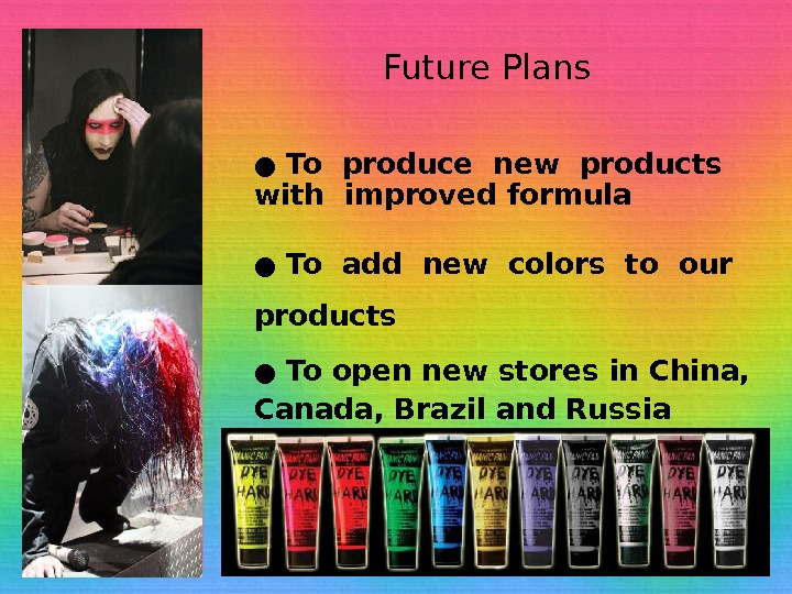 Future Plans ●  To produce new products  with improved formula ●