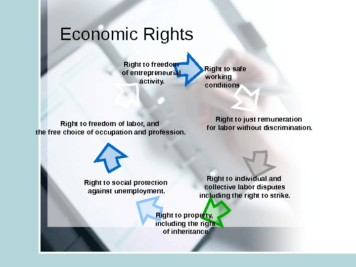 Economic Rights   Right to safe  working  conditions Right to social protection