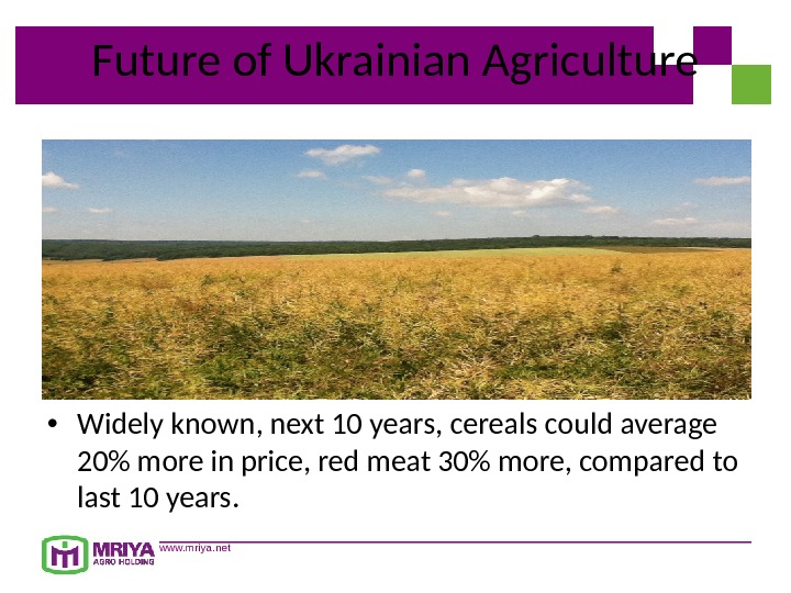 www. mriya. net. Future of Ukrainian Agriculture • Widely known, next 10 years, cereals could average