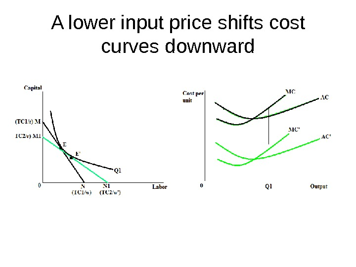 A lower input price shifts cost curves downward