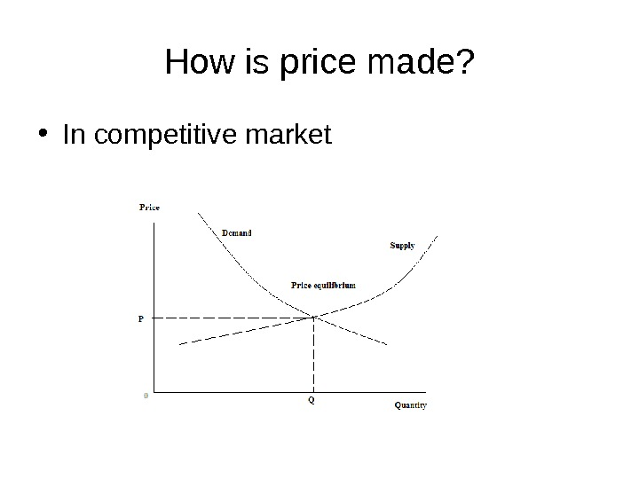 How is price made?  • In competitive market