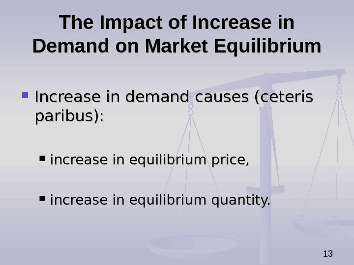 13 The Impact of Increase in Demand on Market Equilibrium Increase in demand causes