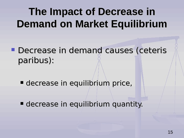 15 The Impact of Decrease in Demand on Market Equilibrium Decrease in demand causes