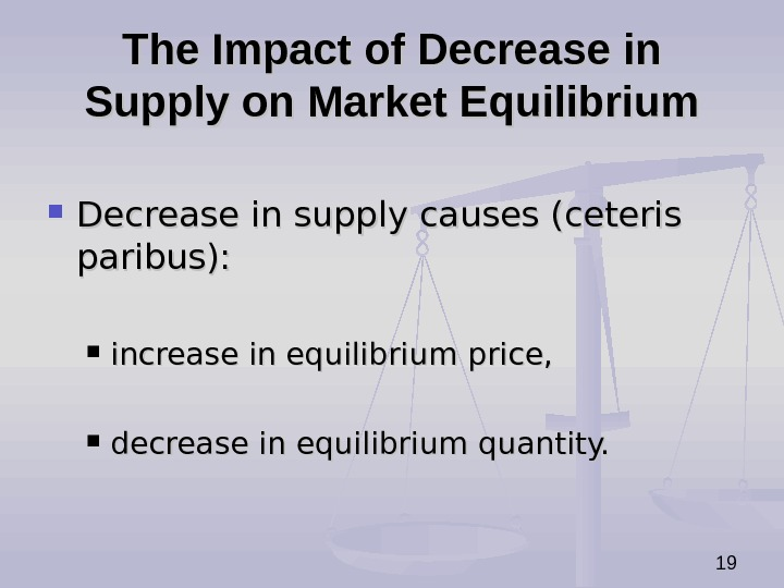 19 The Impact of Decrease in Supply on Market Equilibrium Decrease in supply causes