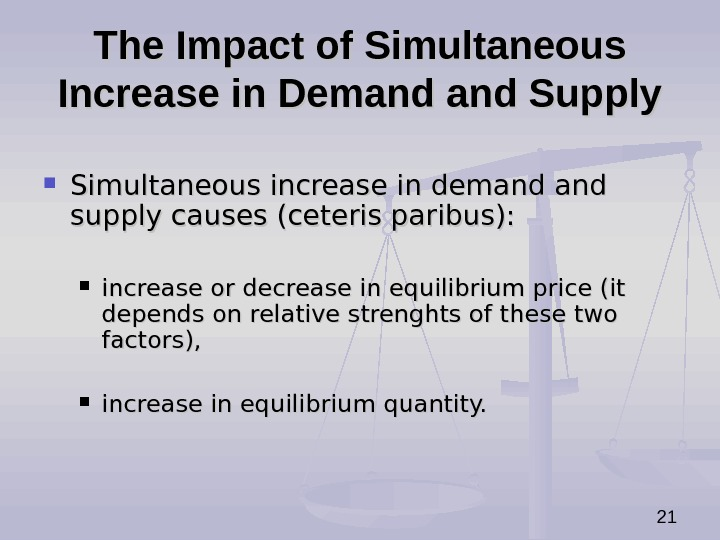 21 The Impact of Simultaneous Increase in Demand Supply Simultaneous increase in demand and